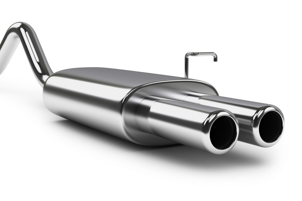 Car exhaust silencer. Polishing muffler